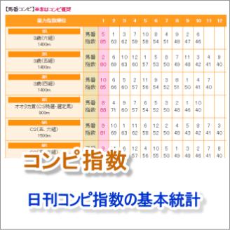 南関競馬の日刊コンピ指数の基本統計
